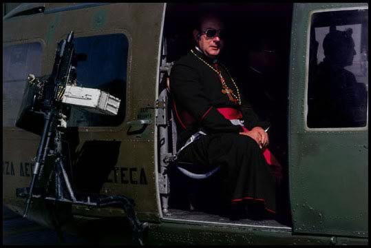 Guatemala, 1983 - Clergy traveled in military helicopters to the mass of  Pope John Paul II in the war zone. Photograph by James Nachtwey