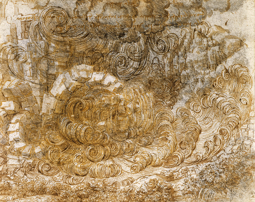 A deluge drawing by Leonardo made on the end of his life.