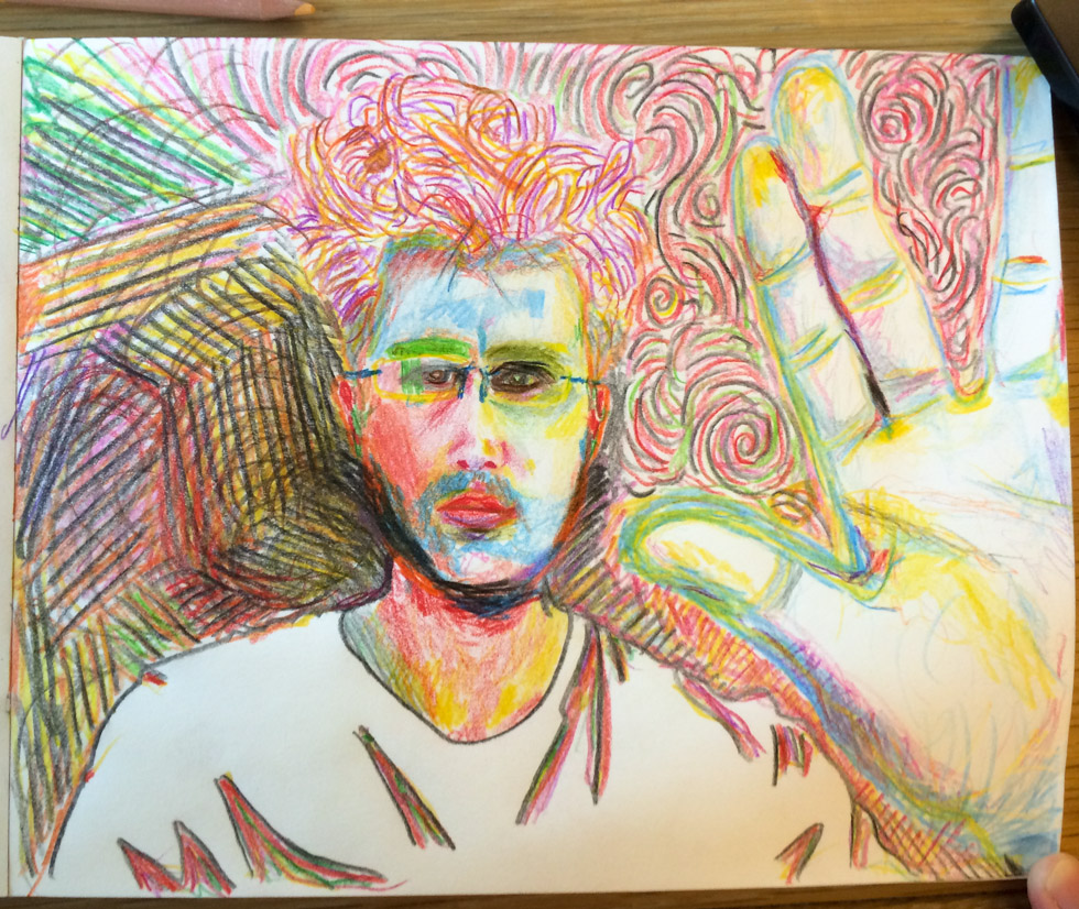 Self-portrait in colored pencil with bad thumb.
