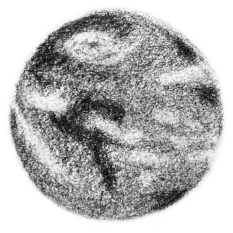 A pencil drawing of planet Earth.