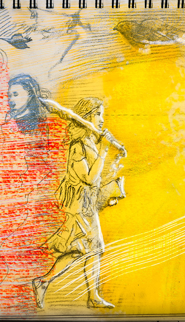 A pencil drawing of a woman walking and holding a notebook and a sword.