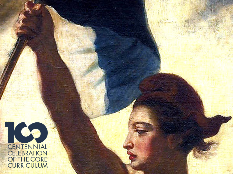 The Core 100 logotype in the corner of the frame of a detail of Eugène Delacroix's Liberty Leading the People.