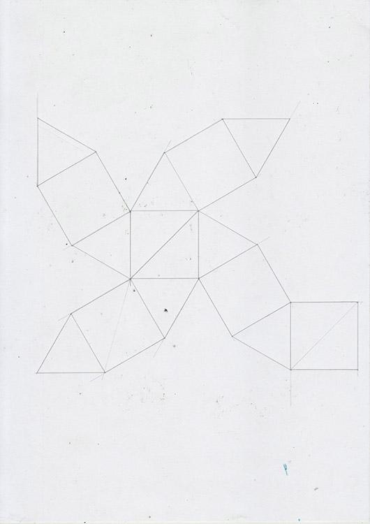 2D net of a cuboctahedron.