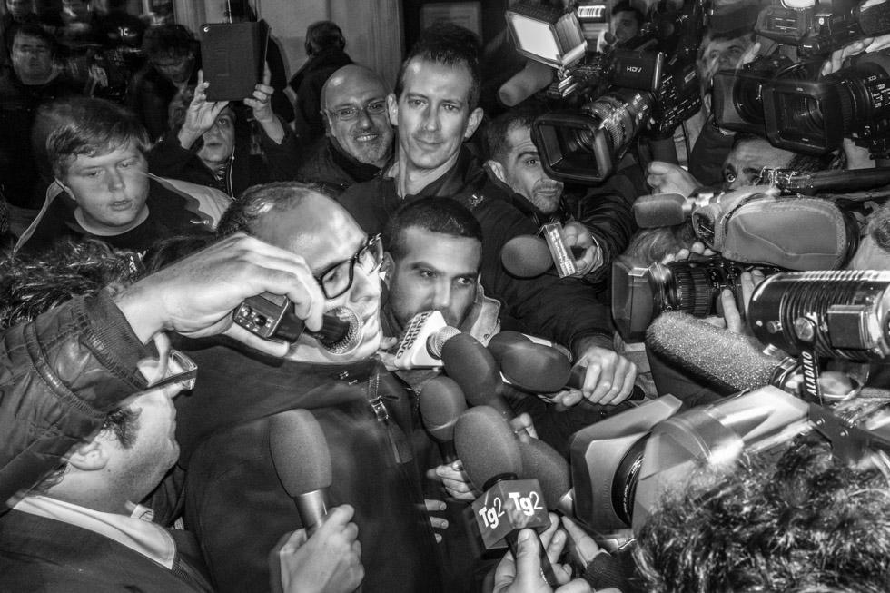 Italian Politician photograph. Democratic Party Headquarters, Via di Sant'Andrea delle Fratte, Rome, 2014.