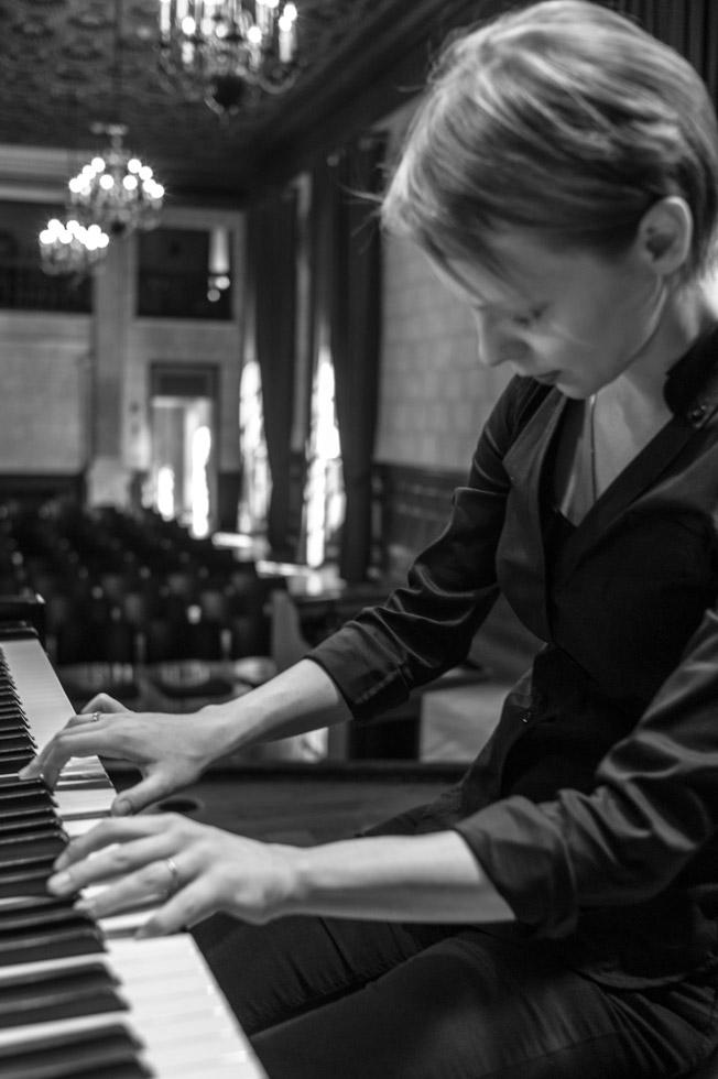 Magdalena Baczewska Rehearsing at Columbia University's Italian Academy's Teatro, New York City, 2015.