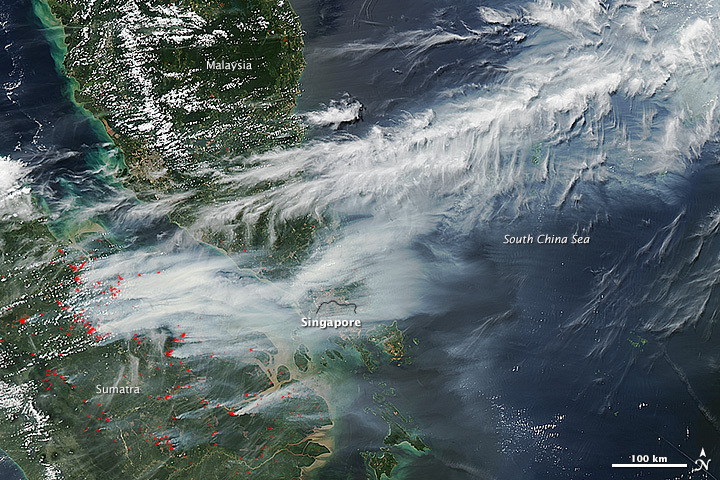 Satellite image from NASA showing smoke from forest fires in Indonesia.