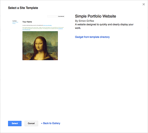 An image showing the site template that includes Leonardo da Vinci's Mona Lisa as an example portfolio piece.