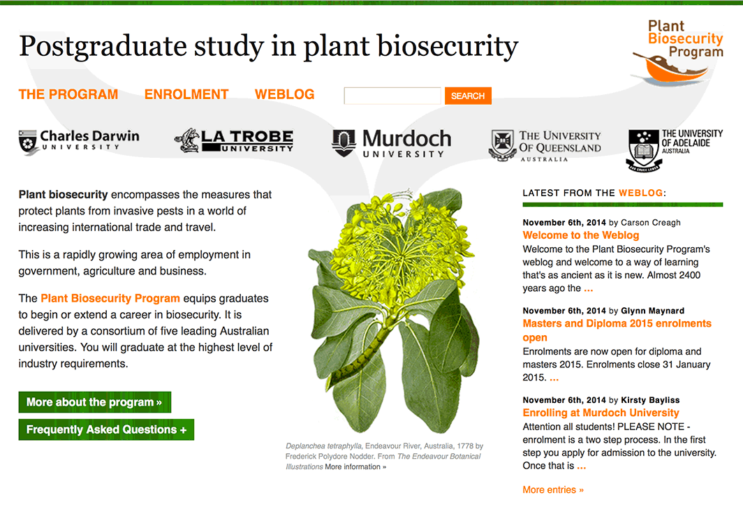 Australian Postgraduate Study in Plant Biosecurity Program website design.