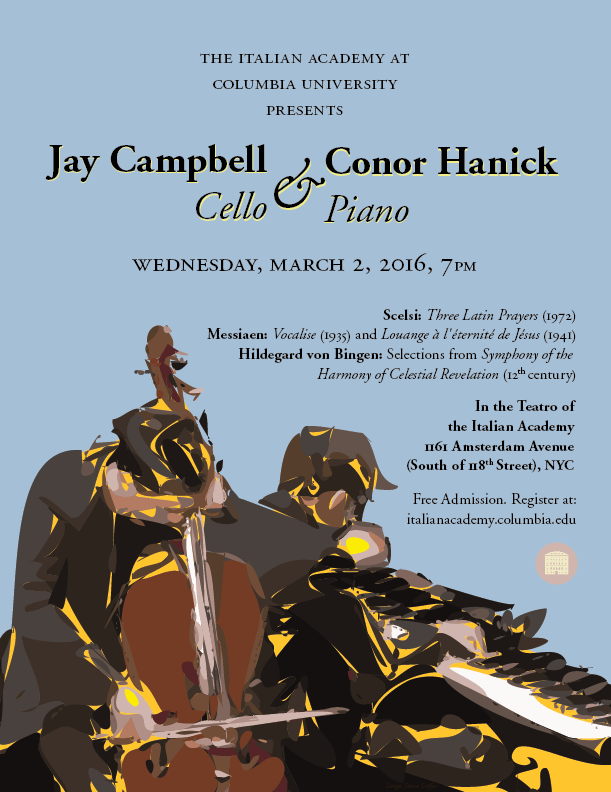Jay Campbell, Cello Conor Hanick, Piano poster.