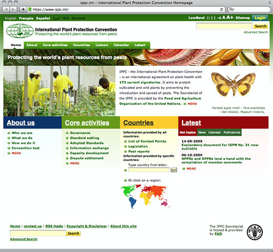 International Plant Protection Convention website redesign.