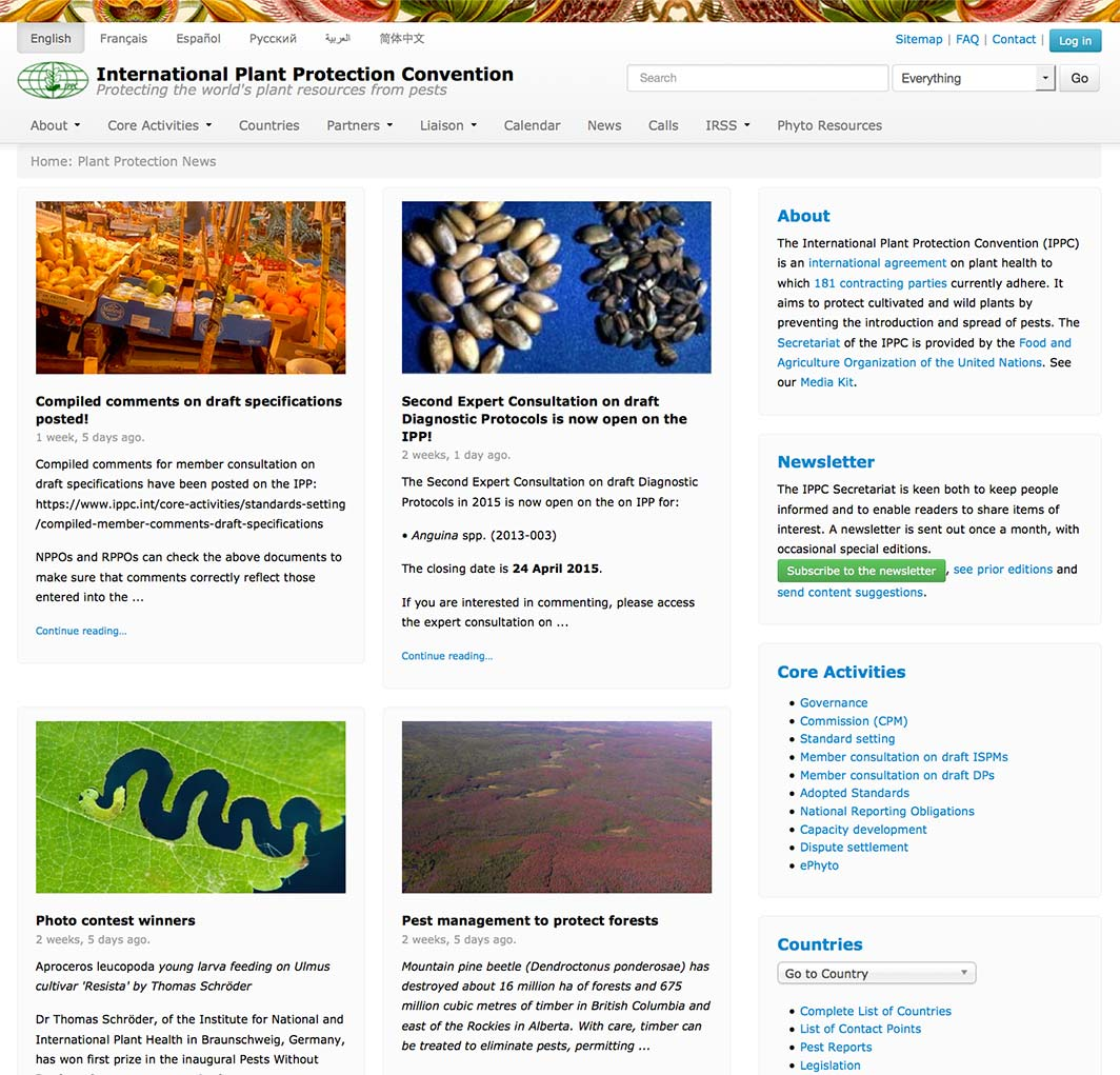 International Plant Protection Convention website 2015 redesign.