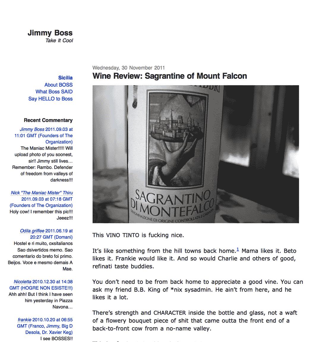 A screenshot of the Jimmy Boss website.
