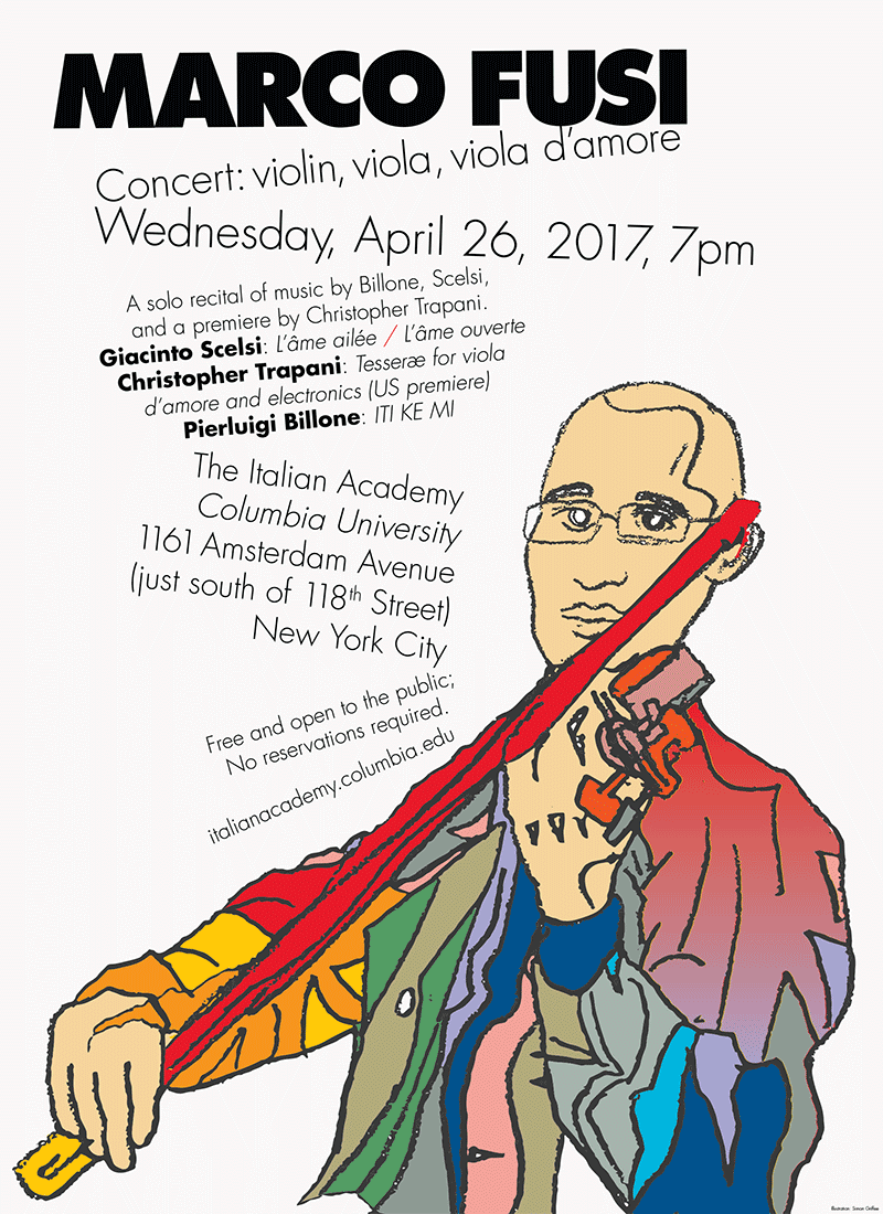 Poster for experimental violinist Marco Fusi.