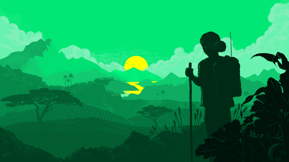 Woman looking into the sun in a verdant African landscape.