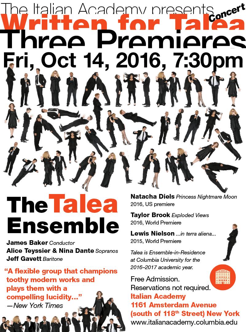 Talea Ensemble poster.