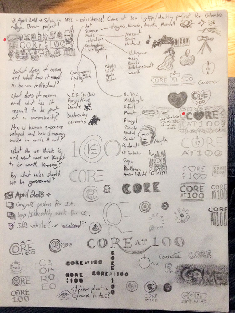 Notebook page with Core 100 logotype design notes.