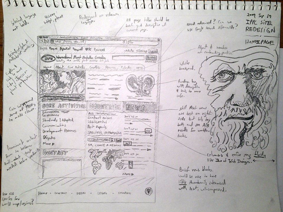 International Plant Protection Convention website homepage sketch.
