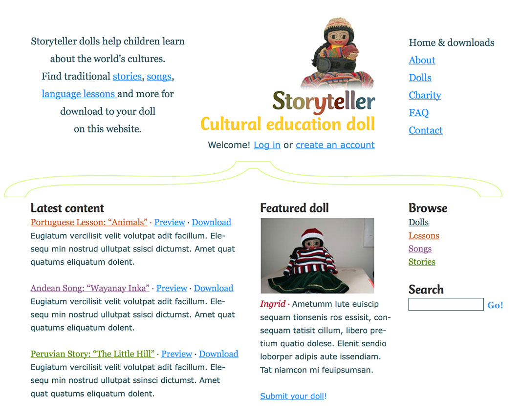 Homepage mockup of the Storyteller dolls website.