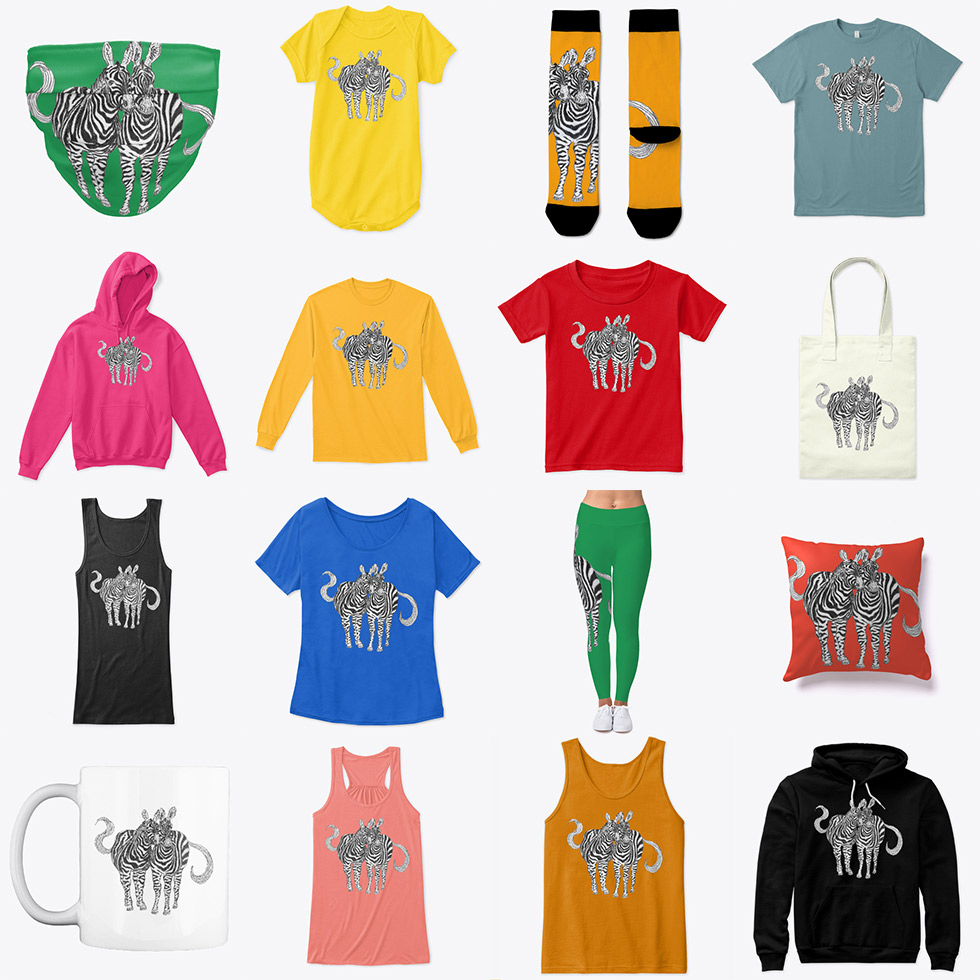 A selection of apparel with a pencil drawing of two zebra friends together on various colorful backgrounds.